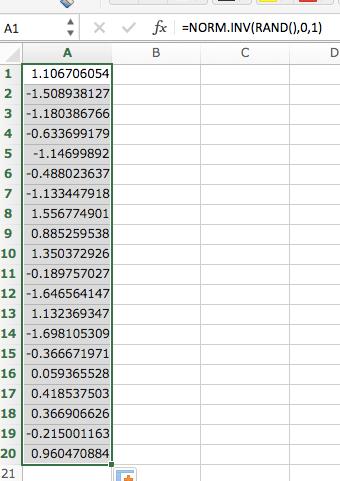 正規分布をエクセルで描く方法ステップ1:乱数を発生させる